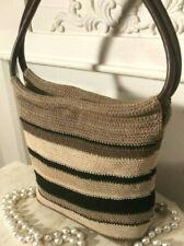 Minicci Woven Fabric Tote Handbag Black Brown Tan Striped Pattern-Casual-Simple