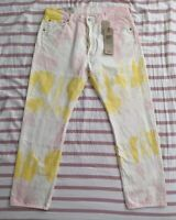 Mens Levis 501 '93 Straight Tie Dye Jeans 34x30 Button Fly White Yellow Pink