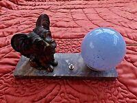 Ancienne lampe chevet-chien-Yorkshire art-déco-veilleuse boule bleu mouchetée