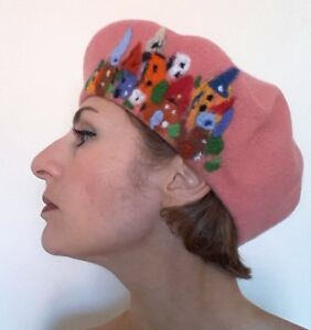 Peach Felted Wool French Beret with town, unique, decorated, warm, cozy, modern