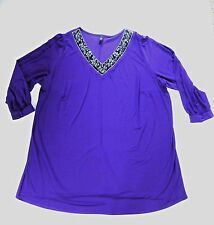 Ladies Long Sleeved Tunic with Embellished Gem Stone  Neck- Purple- UK Size 24