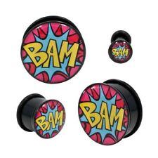 "PAIR-Comics BAM Acrylic Single Flare Ear Plugs 12mm/1/2"" Gauge Body Jewelry"
