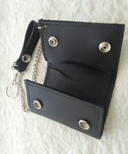 USA MADE - Trifold Trucker Biker Chain - BLACK Cowhide Thick Leather Wallet