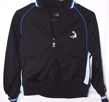 Girls Zippered Black Jacket With Blue & Stripes Size M (8) With 2 Front Pockets