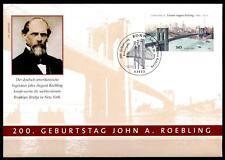 Ingenieur Johann Röbling und Brooklyn Bridge, New York. FDC(2). Bonn. BRD 2006