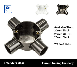 Centaur 20mm - 25mm PVC Conduit 4 Way Box Black & White