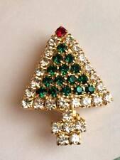 Vintage costume jewllery rhinestone christmas tree brooch