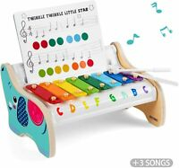 Wooden Xylophone Musical Toy Game Play Indoor For Toddlers 2 Year Old Kids Gifts