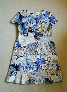 Womens Dress-TALBOTS-white/blue/yellow cotton stretch floral lined  ss-12