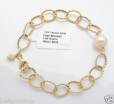 Textured Oval Link Bracelet with Pearl Real 14K Yellow Gold ALL SIZES