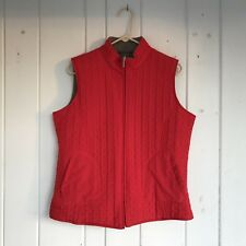 Sport Vest Womans Size M/L Reversible Red Quilted /Taupe Fleece Zipper