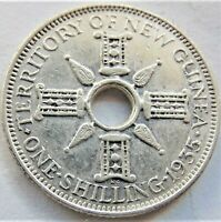 1935 NEW GUINEA, George V, Silver Shilling, grading About VERY FINE or +.