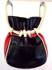 Tex-Made Handbag Satchel Hobo Drawstring Bag Purse Red White Blue Vinyl Vintage
