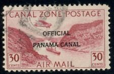 CANAL ZONE #CO11, 30¢ rose lake type II, used w/postal cancel & thus quite rare