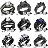 Womens Black Stainless Steel Princess Cut CZ Wedding Engagement Ring Set