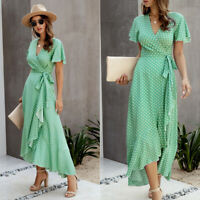 KQ_ Summer Women V Neck Short Sleeve Polka Dots Print Ruffled Hem Belt Long Dres