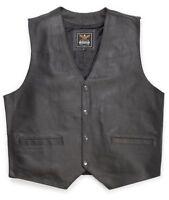 Leather Vest Leather Frock Calf nappa leather black Kutte Biker Cowboy Western