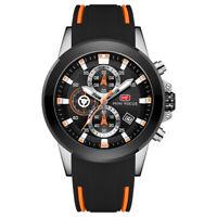 Men's Business Quartz Sports Waterproof Chronograph Watch Silicon Band Orange