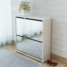 vidaXL Shoe Cabinet 2-Layer Mirror White 63x17x67 cm Storage Organizer Rack