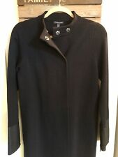 Eileen Fisher Long Wool Sweater Coat Snap Front With Leather Zipper Sleeves Sz S