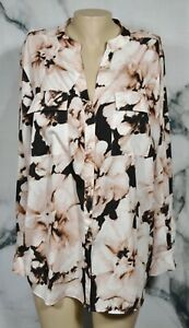 CALVIN KLEIN Black Pink Ivory Floral Print Shirt Blouse 2X Long Sleeves Unlined