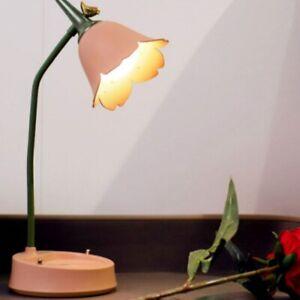 LED Table Light USB Rechargeable Flower Lampshade Desk Lamp Phone Holder Pink