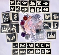GLITTER Tattoo Kit per le ragazze 34 Stencil 4 BRILLANTINI, 1 Colla Pennelli Prof qualità UK