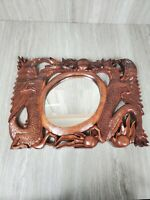 Dragon Suar Wood Hand Carved Balinese Bali Indonesia Sculpture Wall Mirror