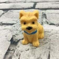 Puppy Dog Figure Yellow Long Haired Rubber Dollhouse Pet With Blue Collar