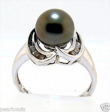 9MM Dark Gray Tahitian Pearl Diamond Ring, 14K White Gold, Size 8, NEW