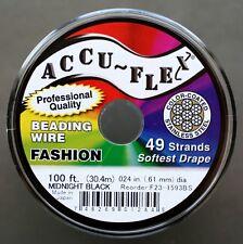 100' .024 Black ACCUFLEX 49 Strand Beading Wire ACCU-FLEX