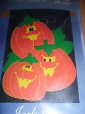 """HOME EXPRESSIONS 3 JACK-O-LATERNS PUMPKINS FLAG 28""""X40"""" NEW HALLOWEEN"""