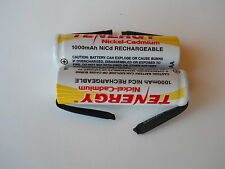 2 x Tenergy Rechargeable AA NiCd 1000 mAh Flat Top Battery - With Solder Tabs