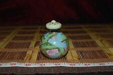 """One Small Hand Painted Salt Shaker Blue Green Pink w/ Raised Gold Dots 3""""x2"""""""