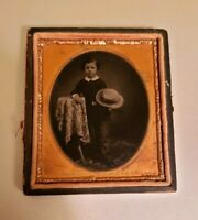 Antique victorian Ambrotype Boy With Hat Photograph Signed artist J A Phillips