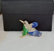 Broche Dorado Pájaro Esmalte Azul Verde Cristal Original XZ6