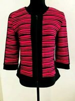 Joseph Ribkoff Women's size 12 Top/Jacket Pink & Black Stretch 3/4 Sleeves Zip