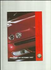 ALFA ROMEO 145,146,155,164 2.0/3.0, SPIDER & GTVPRICE LIST CAR BROCHURE OCT.1997