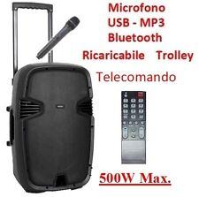 CASSA AMPLIFICATA ATTIVA TROLLEY RICARICABILE BLUETOOTH TELECOMANDO FM USB MP3