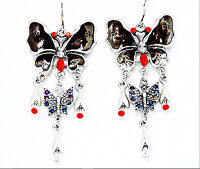 ICON 2.5 in BLACK ENAMEL RED CRYSTAL DROP BUTTERFLY SILVER TONE HOOK EARRINGS