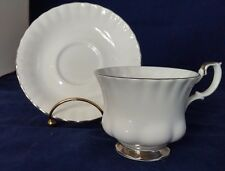 Royal Albert Chantilly Tea cup Teacup and Saucer Platinum Rim Montrose Shape VTG