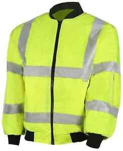 Hi Viz Visibility Reflective Yellow Padded Bomber Jacket No Hood Limited Sizes