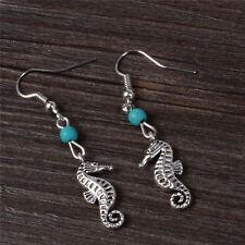 HOT Fashion Hook Earrings Sea Horse Earring Turquoise Bead  Stylish NEW