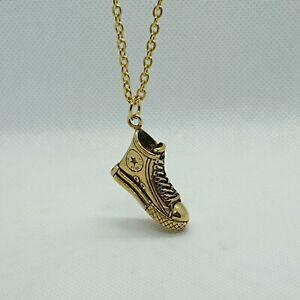 Converse Pendant Gold Chrome aluminium Polished Necklace Men's Ladies Trainer