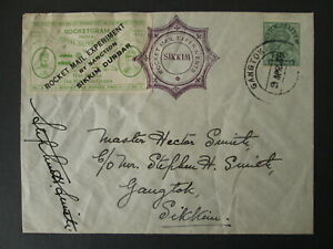 INDIA SIKKIM cover ROCKET MAIL 1935 signed GANGTOK stamp