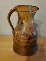 "John Glick Plum Tree Pottery 8¾"" Water Pitcher 1970s soda fired embossed signed"