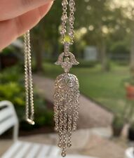 "STUNNING 18k White Gold Diamond Tassel Necklace 16"" 750"