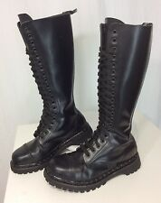 Demonia Women's 9 M Black Leather 20-Eye Rocky Combat Military Lace Up Boots