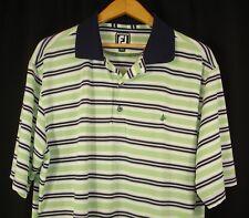 FootJoy Mens Short Sleeve Green White Blue Polo Golf Shirt Athletic Fit XL