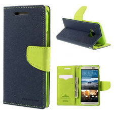 Korean Mercury Fancy Diary Wallet Case Cover for HTC One M9 - Navy